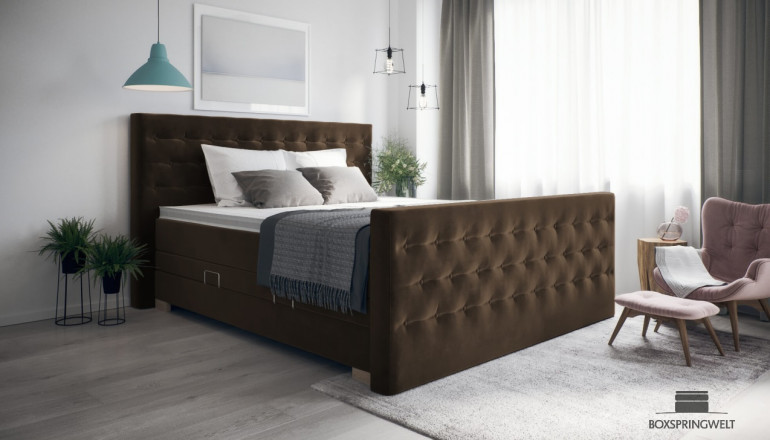Boxspringbett Helene 180 x 200 cm cm in Adore Coffee
