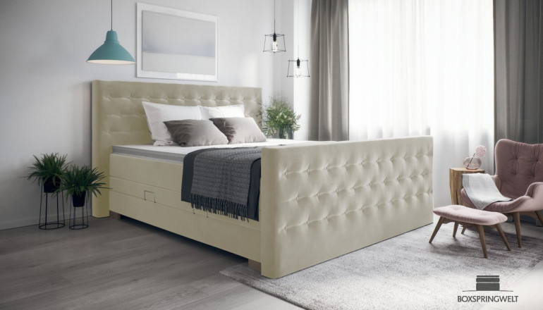 Boxspringbett Helene 180 x 200 cm cm in Adore Natural